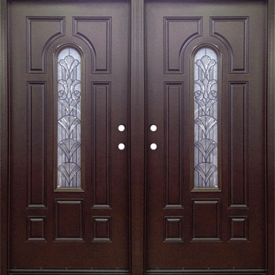 dark walnut double exterior fiberglass entry door fm 280