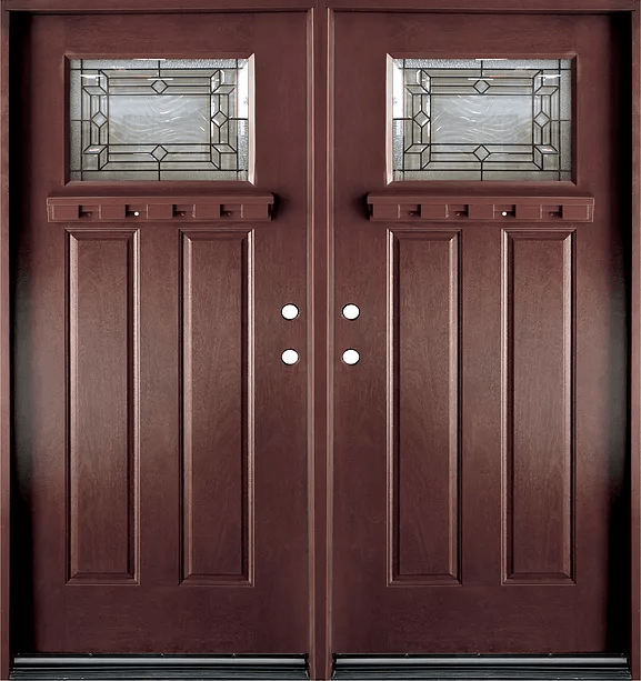dark walnut double exterior fiberglass door fm300 - Exterior Fiberglass Doors