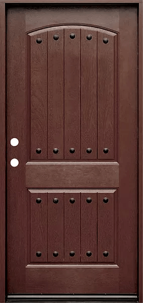 dark walnut single exterior fiberglass door fm200pp