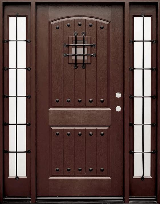 dark walnut single exterior fiberglass door two sidelites fm200w