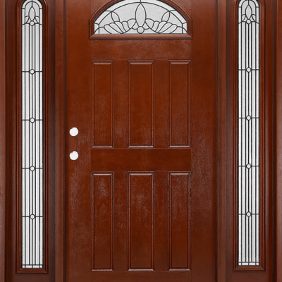 fm 285 mahogany exterior fiberglass single door two sidelites - Exterior Fiberglass Doors