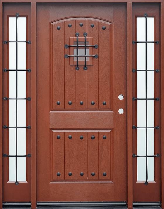 mahogany single exterior fiberglass door two sidelites fm200w - Exterior Fiberglass Doors