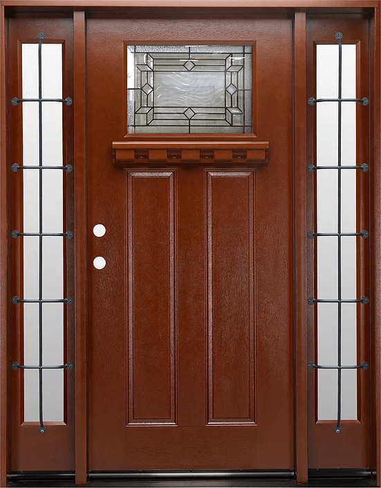 mahogany single exterior fiberglass door two sidelites fm300