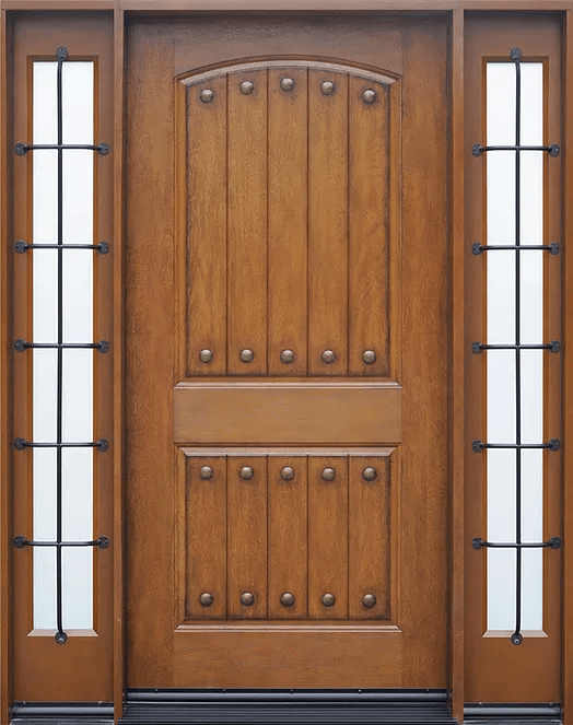 medium walnut single exterior fiberglass door two sidelites fm200pp
