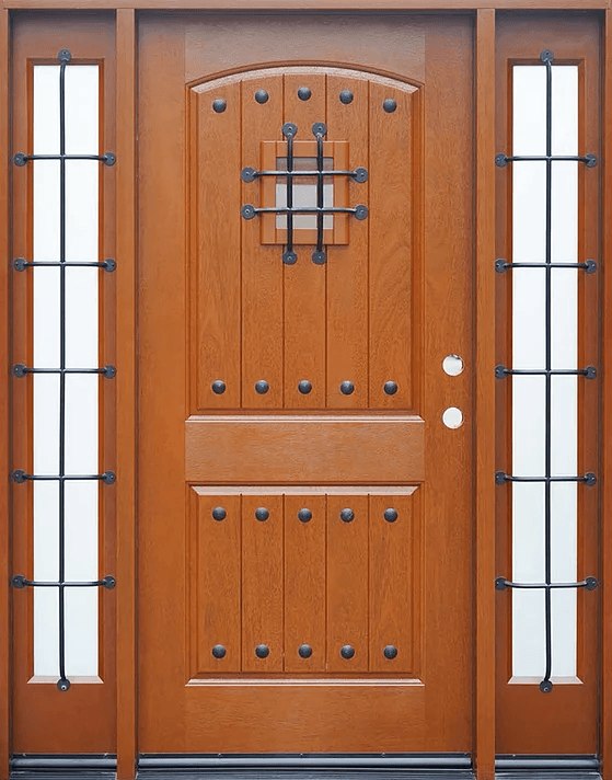medium walnut single exterior fiberglass door two sidelites fm200w