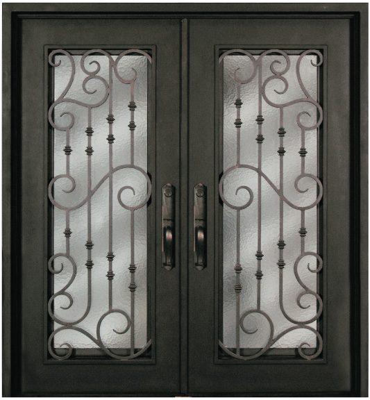 Steel 73.5  x 81  Double Exterior Iron Entry Doors S516WHXX-61 & S516WHXX-54 Steel 64