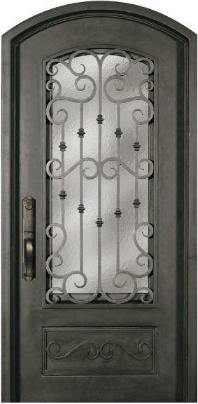 Steel Single Exterior Iron Entry Door SS518WHX 34
