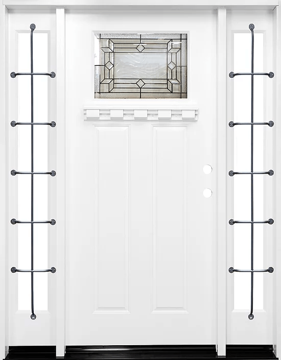 white single exterior fiberglass door two sidelites fm300